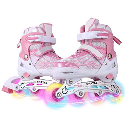 (Dongchuan Kids/Adults Inline Skates Size 2 3 4 Girls Flashing Wheels Roller Skates Breathable Mesh Inline Skate Rollerblades Aluminum Frame Adjustable Outdoor/Indoor)