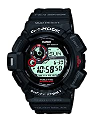 Casio Men's G-Shock G9300-1D Black Resin Quartz Watch with Black Dial