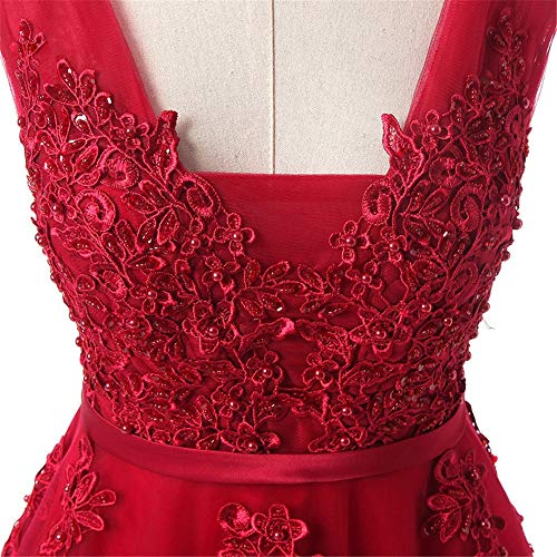 Cuello Con La Melodycp Vestidos Ajustado Baile tamaño En Vestidos Noche Bola Mujer Atractivos De V Y Doble Encaje Largos Apliques Vestido Boda Para Tul L nYqa8