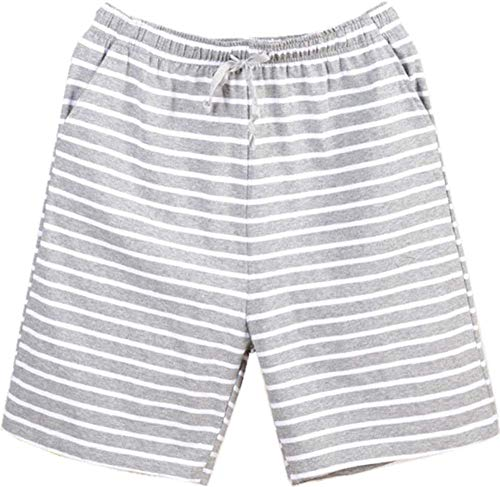 Nuosha-BABY Mens Sleep Shorts Cotton Pajama Shorts Casual Lounge Pants with Pockets Light Grey Strip Small]()