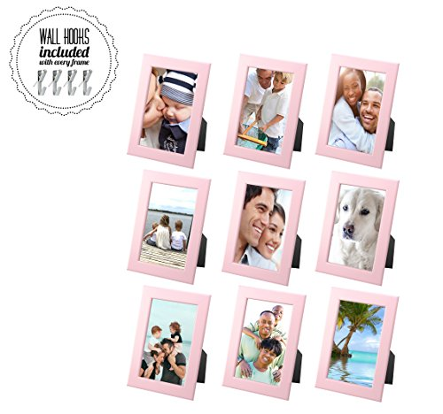 IKEA Family Picture Frame PINK Photo Collage With Metal Hardware [Set of 9 - 4 x 6 Picture Frames] [A+++QBG Wall Hooks] | Set of 9 Photo Frames - For Wall or Desk Collage of 9 - Light Pink
