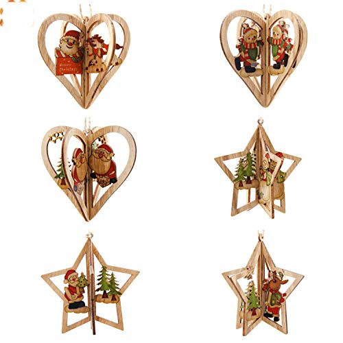 (FANRENYOU Creative Christmas Wooden Pendants Ornamentst Christmas Party Decorations Mix Style)
