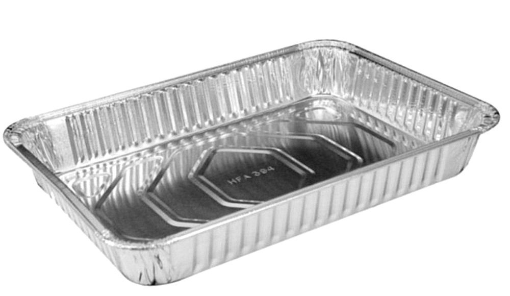 Handi-Foil 13'' x 9'' Oblong Aluminum Foil Disposable Cake Pan - REF # 394 (Pack of 25)