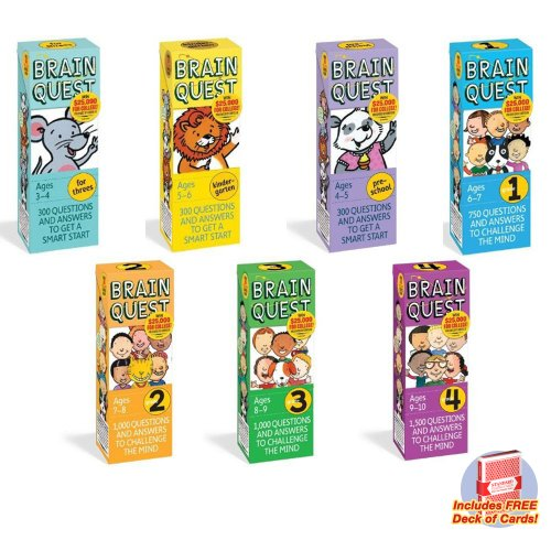 Ultimate Brain Quest Combo- Includes for threes, preschool, kindergarten and grades 1-4 with free deck of standard playing cards -