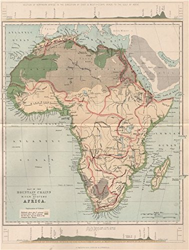 Amazoncom AFRICA Map of the Mountain Chains and the River