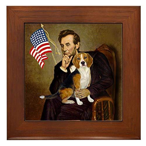 CafePress Lincoln & Beagle Framed Tile, Decorative Tile Wall -