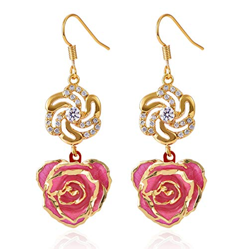Pink 14k Rare Rose - Earrings for Women 24K Gold Dipped Rose Flower Dangle Ear rings Jewelry for Her Made of Fresh Rose, Last Forever Birthday Gifts by Filfeel (Pink)