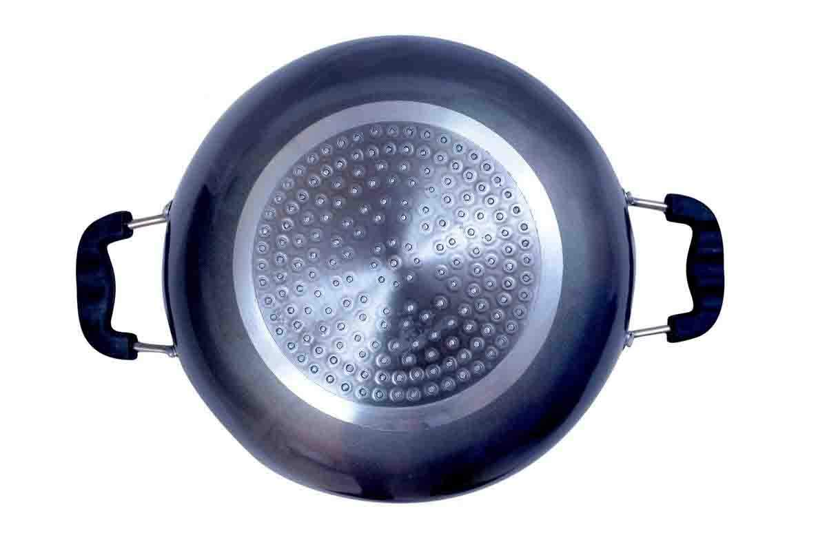 Hard Anodized Deep Kadai Non-Stick Aluminium Kadhai Deep Fry Pan Nonstick 2.2 Litre Kadhai with Glass Lid 240 mm (Induction and Gas Compatible) by GD (Image #3)