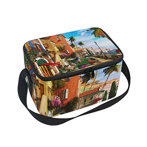 Mediterranean Terrace Lunch Box Insulated Lunch Bag Large Cooler Tote Bag Picnic School Women Men Kids ()