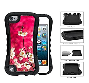 Dark Pink Background White Cherry Blossom Flowers iPod Touch 5 (2-piece) Dual Layer High Impact Cell Phone Case