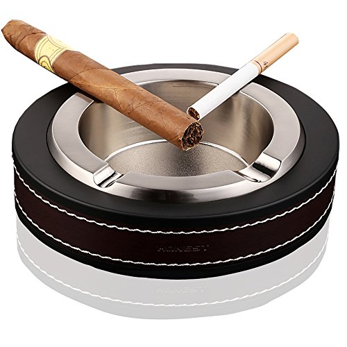 TAKAVU Cigar Ashtray, Stainless Leather Cigarette Cigar Ashtray for Patio Outdoor Table use (Silver) Patio Outdoor Table Grand
