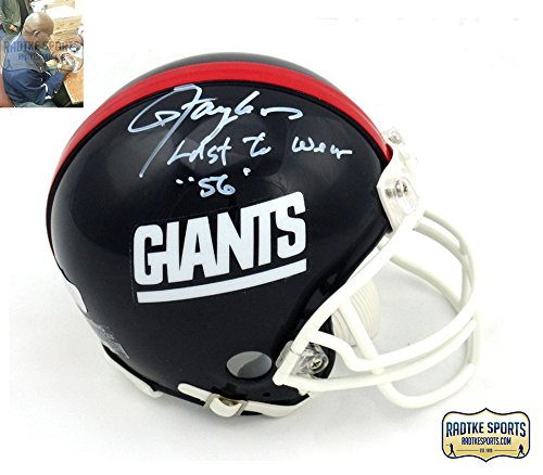 "Lawrence Taylor Autographed/Signed New York Giants Throwback Mini Helmet with ""Last to Wear 56"" Inscription - LE"