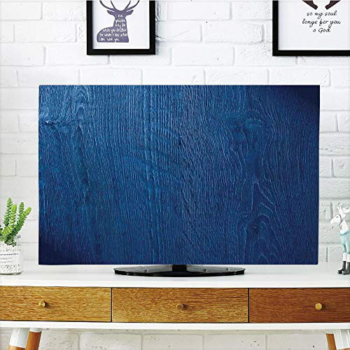 LCD TV Cover Lovely,Navy Blue Decor,Photo of Oak Wood Texture Nature Style Vintage Decorative Artprint Home,Royal Blue,Diversified Design Compatible 50
