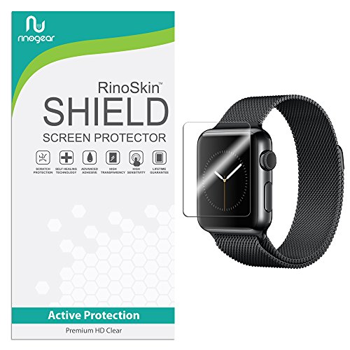 [6-PACK] RinoGear for Apple Watch Screen Protector 38mm (Series 3/2/1) [Active Protection] Sport Flexible HD Crystal Clear Anti-Bubble Film - Adhesive Backed Laser Film