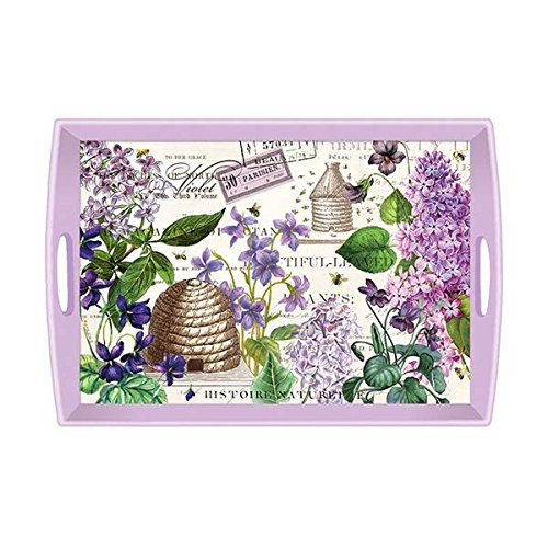 Michel Design Works Wooden Decorative Tray, 20 x 13.75-Inch, Large, Lilac & Violets