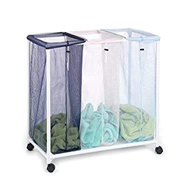Homz Triple Clothing Sorter with Wheels, 3 Removable Bags, 31  x 16  x 30.5  (4549010)