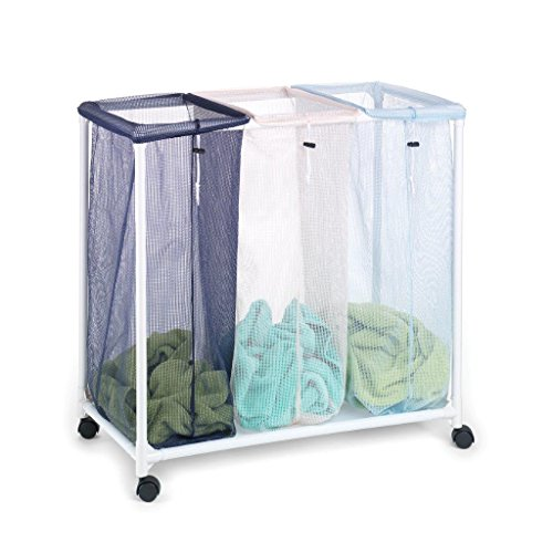Homz Triple Clothing Sorter with Wheels, 3 Removable Bags, 31