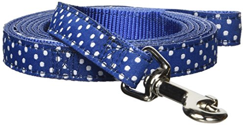 (Hamilton Single Thick Dog Leash with Polka Dots Ribbon Overlay, 5/8