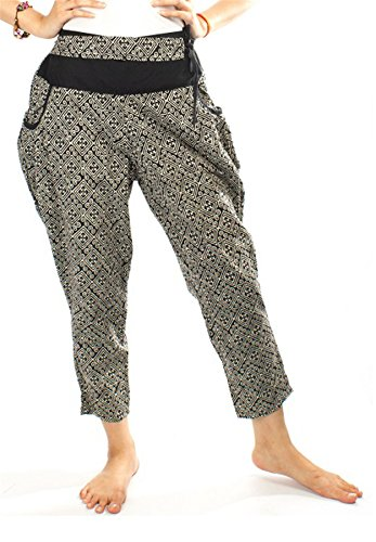 Lofbaz Mujer Pantalones de Harén Hecho de Algodón Hmong Batik Negro 1