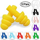 10 Pairs Swimming Earplugs Silicone Noise Cancelling Ear plugs Reusable Waterproof Earplugs with Case for Swimming and Sleeping, 10 Assorted Colors