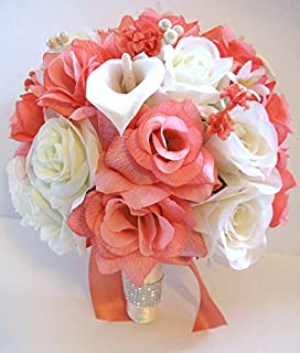 Amazon Com Wedding Bouquet Bridal Silk Flower 17 Pieces Package