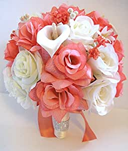 17 pcs wedding silk flower bouquet bridal package peach coral cream calla lily ivory. Black Bedroom Furniture Sets. Home Design Ideas