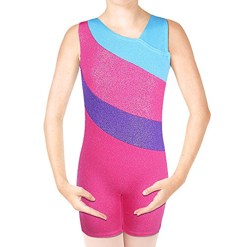 BAOHULU Sparkle Dancing Hiking Biking Gymnastics Leotards for girls 4-11 Years (120(Recommended age 6-7Y), LightBlue) (Quick Kid Halloween Costumes)
