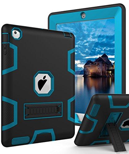 TIANLI iPad 2 Case,iPad 3 Case,iPad 4 Case Three Layer Protection Shockproof Protective with Kickstand iPad 2nd Generation Case/iPad 3rd Generation Case/iPad 4th Generation Case - Black Blue