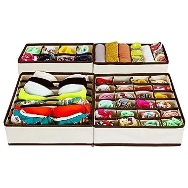 SONGMICS Foldable Storage Box Bra Underwear Closet Organizer Drawer Divider Kit Set of 4 Beige URUS04M