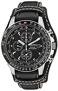 Seiko SSC009P2 - Reloj cronógrafo de cuarzo para hombre, correa de cuero color negro
