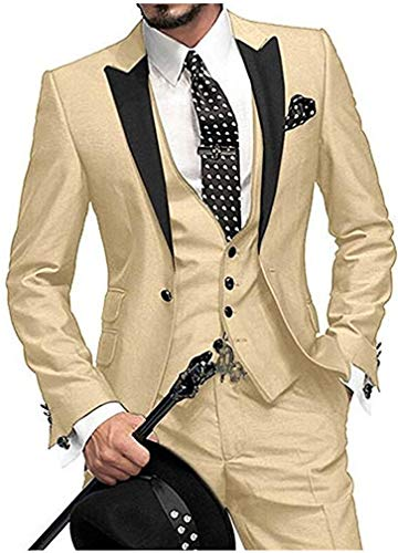 - One Button 3 Pieces Champagne Wedding Suits Notch Lapel Men Suits Groom Tuxedos Champagne 42 chest / 36 waist