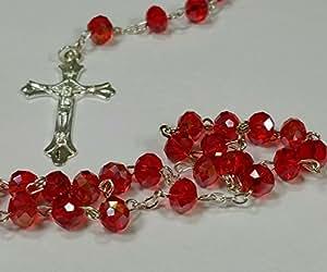 Cristal Rojo Rosario Católico Cuentas Presenta beatifully por ley effectz