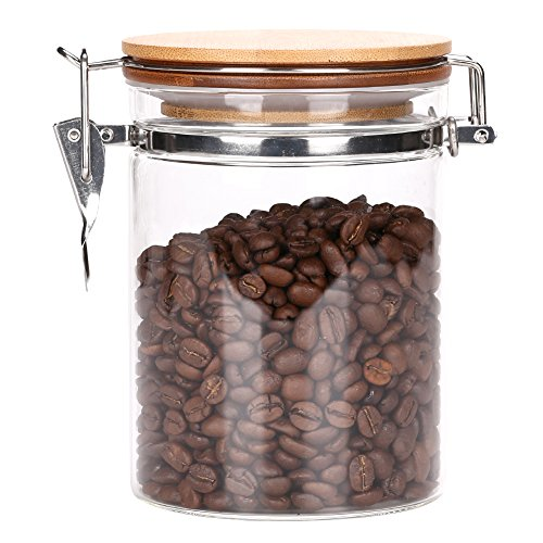 3E Home 23-2500 Large Coffee Canister, Container, Jar for Ground or Whole Bean, Glass Body and Bamboo Cap 26Oz Capacity ()