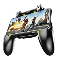 COOBILE Mobile Game Controller for PUBG Mobile Controller L1R1 Mobile Game Trigger Joystick Gamepad for 4-6.5″ iOS & Android Phone(W10 Update)