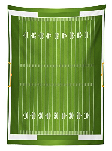 Ambesonne Football Tablecloth, Sports Field in Green Gridiron Yard Competitive Games College Teamwork Superbowl, Dining Room Kitchen Rectangular Table Cover, 60 W X 90 L inches, Green White by Ambesonne (Image #1)