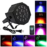 18 LED Par Lights for Stage Lighting with Remote 4 in 1 RGB Poweful Stage lamp for DJ Club Wedding Family Party Disco (Black 18 Par lights)