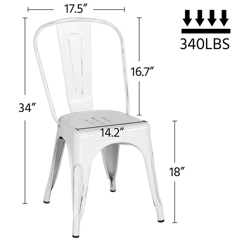 Yaheetech Metal Dining Chairs Indoor/Outdoor Stackable Side Chairs Coffee Chair Distressed White (Set of 4) by Yaheetech (Image #2)