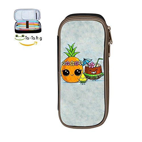 (bagshome Big Capacity Canvas Stationery Pouch Case Holder for Bairn,Print Lovable Coconut Pineapple,Black)
