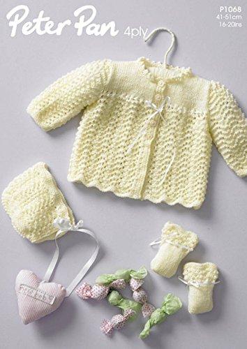 Peter Pan Baby Matinee Coat, Bonnet & Mittens Knitting Pattern 1068 4 Ply