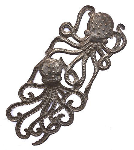 - Handmade Octopus, Recycled Metal Ocean Wall Art, Haiti Steel Drum Indoor Outdoor 7.5