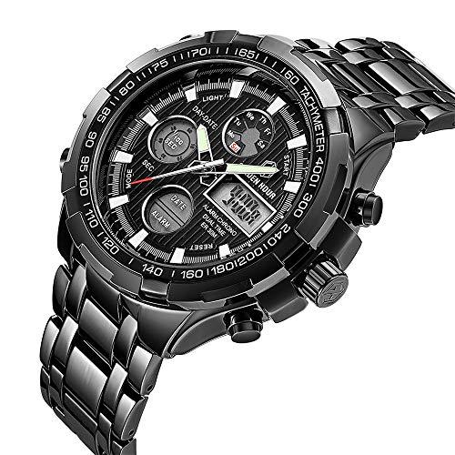 Men Digital Analog Chronograph Sport Watch Classic Black Waterproof Casual Wristwatch Dual ()