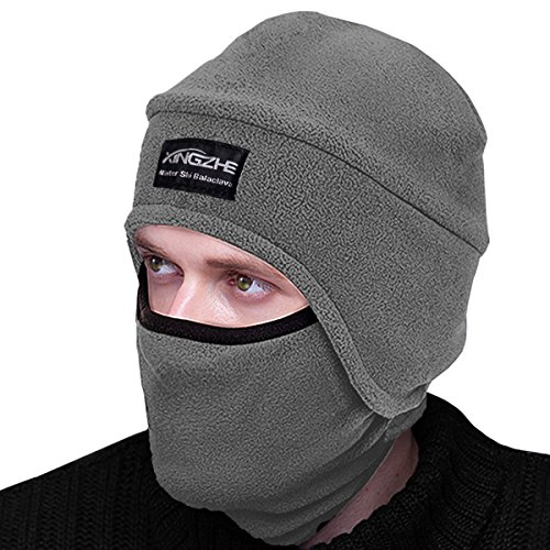 Winter Thermal Hats-Balaclava Fleece Hood-Windproof Cold Weather Ski Face Mask for Skiing Snowboarding Running Motorcycling Cycling Hunting-Tactical Winter Gear Kids Women&Men (Light Grey, - Cycling Gear Female