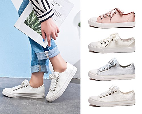 Pictures of ZGR Womens Fashion Canvas Sneaker Low Cut White4 8 M US 7
