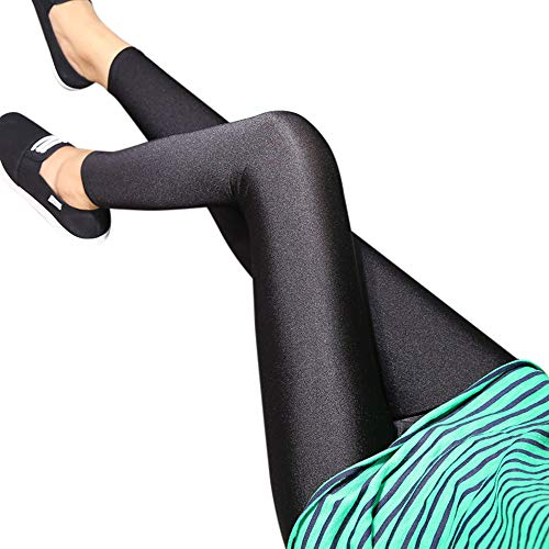 POQOQ Pants Leggings Women High Waist Slim Skinny Leggings Stretchy Pencil M Black ()