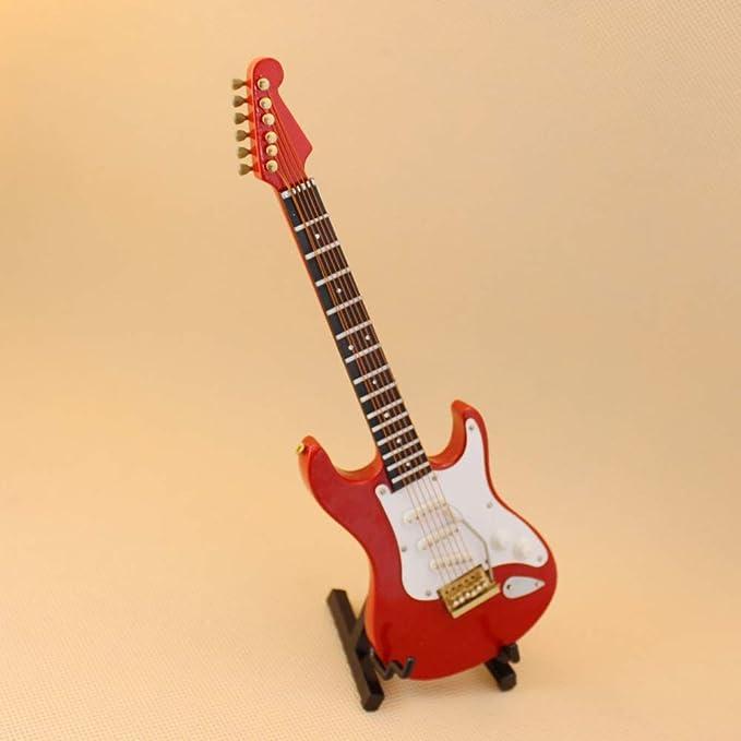 XuBa - Guitarra roja de 18 cm para casa de muñecas, mini ...