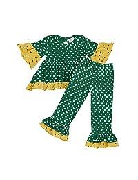 Parya Flower Polka Dot Dress and Leggings Set with Ruffles