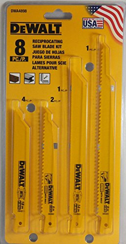 DeWalt DWA4898 8 PC Reciprocating Saw Blade Kit Wood Metal Cutting by DEWALT