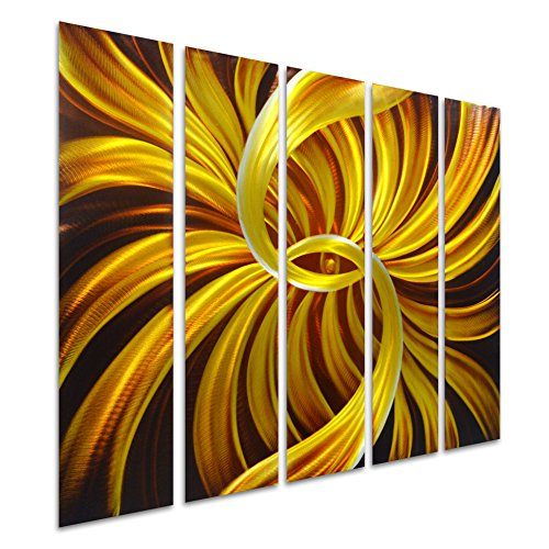 Pure Art Eye in the Gold - Abstract Metal Wall Art - Small Hanging Sculpture of 5 Panels - Modern Design of 34