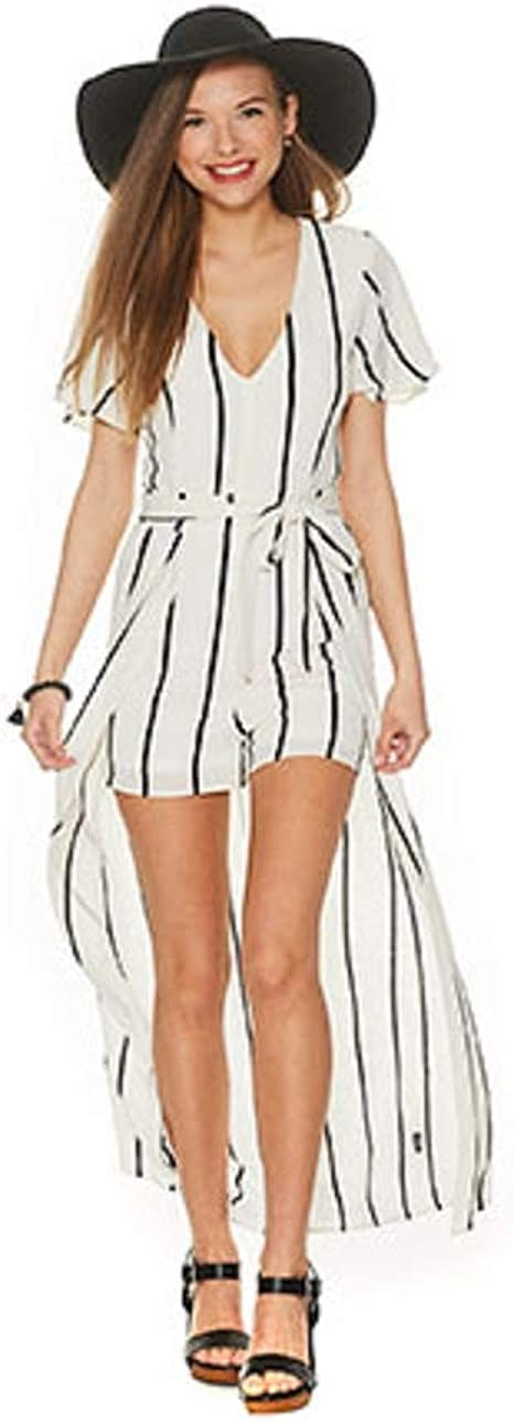 Crystal Doll Juniors Striped Romper with Maxi Overlay Skirt