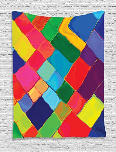 Ambesonne Geometric Decor Collection, Abstract Colorful Tile Splash Futuristic Brush Painting Effect Children Artwork, Bedroom Living Room Dorm Wall Hanging Tapestry, Blue Purple ()